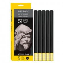 Nitram Fine Art Charcoal: B Tonnen Pais (X 5) 12mm Runde Sticks