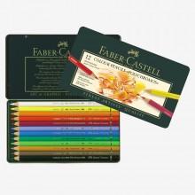Faber Castell Polychromos Stifte: Set 12 in einer Metall-Dose
