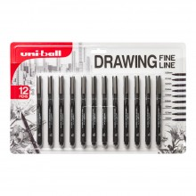 Uni : Pin Drawing Pen : Set of 12 : Black : 0.05 - 0.8mm