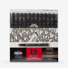 Zieler : Fineliner Drawing Pens : Set of 12