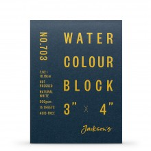 Jackson's : Watercolour Paper : Block : 300gsm : 15 Sheets  : 3x4in : Hot Pressed