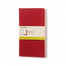 Moleskine : Plain Cahier Journal : 70gsm : 13x21cm : 40 Sheets : Cranberry Red : Pack of 3