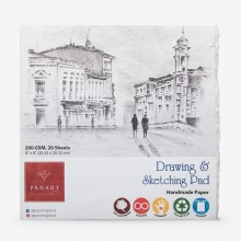 Panart : Sketch Pad : Handmade Paper With Deckled Edge : 200gsm : 20 Sheets : 8x8in