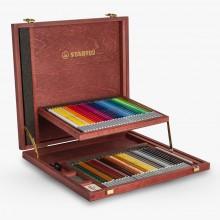 Stabilo Carbothello: Pastell Bleistift Set 60 in einer schönen Holzkiste mit Anspitzer - knetbare Radiergummi