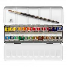 Rembrandt Aquarell: Set: 24 x halbe Pfanne Metall-Box-Set