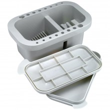Jakar : Rectangular brush tub with integrated palette in lid