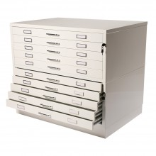 Vistaplan : Metal Planchests : 10 Drawer, White : UK Only