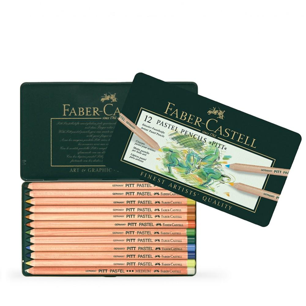 Faber Castell : Pitt Crayon Pastel : Boîte en Métal de 12
