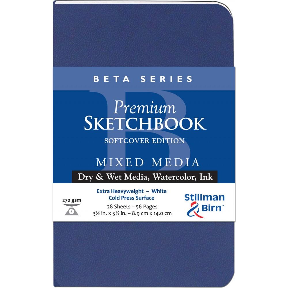 Stillman & Birn : Beta : Couverture Souple Cahier de Croquis : 270gsm : Grain Fin : 3.5x5.5in (9x14cm) : Portrait