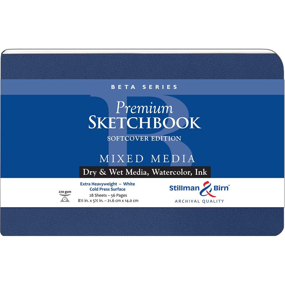 Stillman & Birn : Beta : Couverture Souple Cahier de Croquis : 270gsm : Grain Fin : 8.5x5.5in (14x22cm) : Paysage