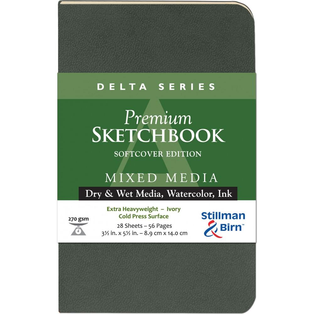 Stillman & Birn : Delta : Couverture Souple: Cahier de Croquis : 270gsm : Grain Torchon : 3.5x5.5in (9x14cm) : Portrait