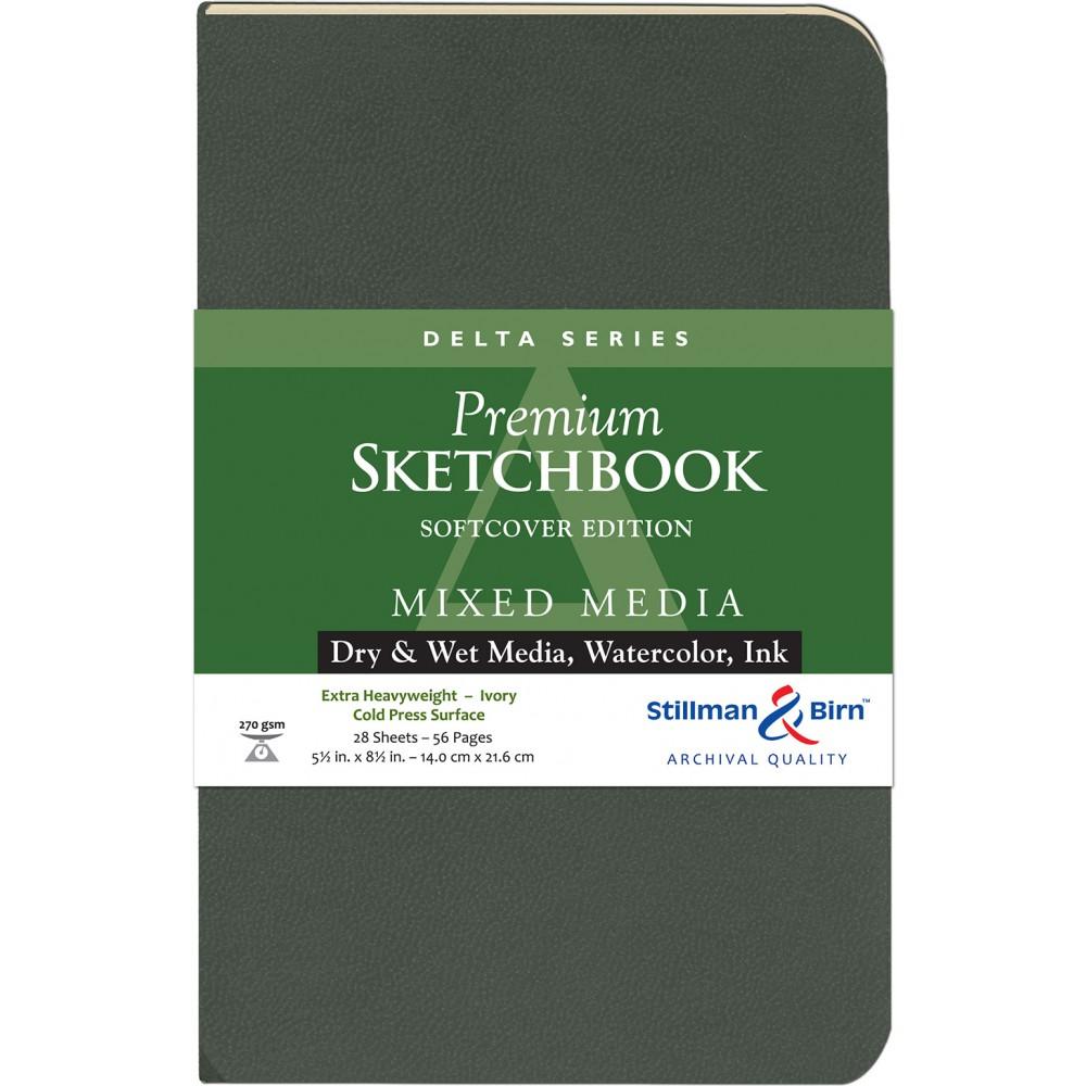 Stillman & Birn : Delta : Couverture Souple: Cahier de Croquis : 270gsm : Grain Torchon : 14x22cm (22x14cm) : Portrait