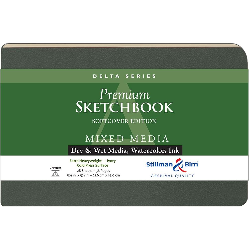 Stillman & Birn : Delta : Couverture Souple: Cahier de Croquis : 270gsm : Grain Torchon : 8.5x5.5in (14x22cm) : Paysage