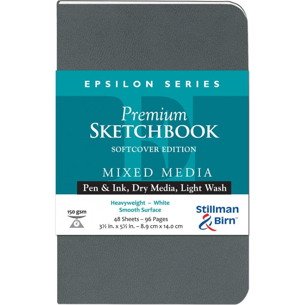 Stillman & Birn : Epsilon : Couverture Souple : Cahier de Croquis : 150gsm : Surface Lisse : 3.5x5.5in (9x14cm) : Portrait