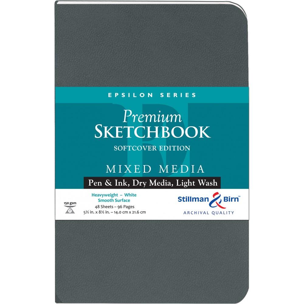 Stillman & Birn : Epsilon : Couverture Souple : Cahier de Croquis : 150gsm : Surface Lisse : 14x22cm (22x14cm) : Portrait
