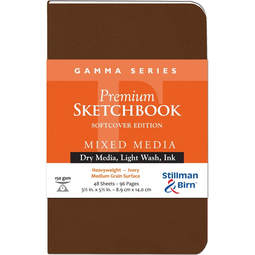 Stillman & Birn : Gamma : Couverture Souple: Cahier de Croquis : 150gsm : Grain Moyen : 3.5x5.5in (9x14cm) : Portrait