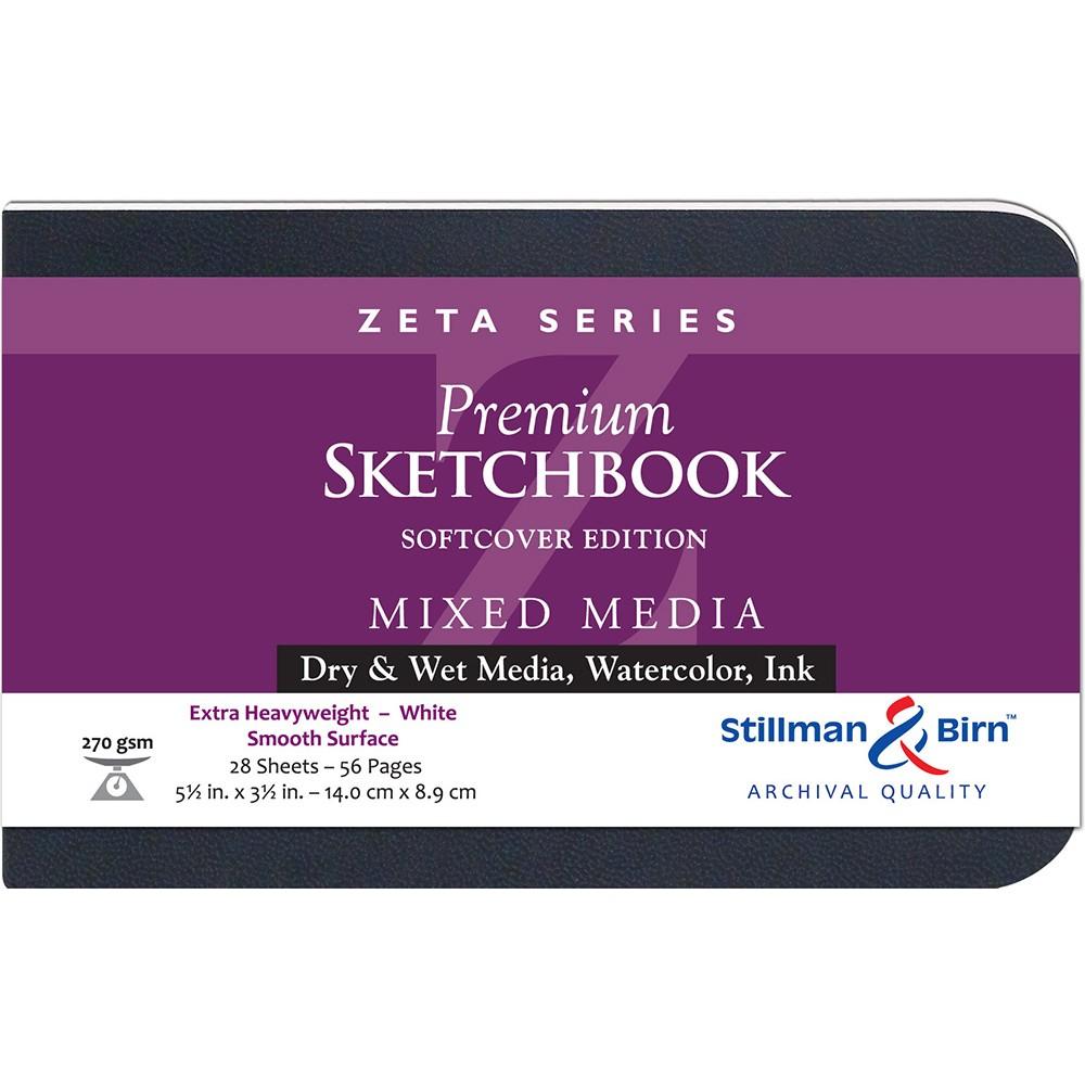 Stillman & Birn : Zeta : Cahier de Croquis Couverture Souple : 270gsm: Surface Lisse : 5.5x3.5in (14x9cm) : Paysage