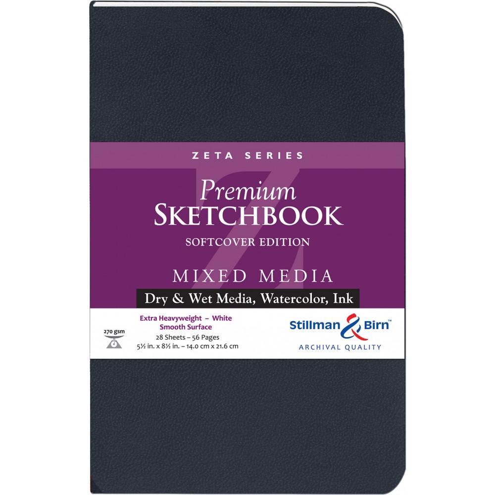 Stillman & Birn : Zeta : Cahier de Croquis Couverture Souple : 270gsm: Surface Lisse : 14x22cm (22x14cm) : Portrait