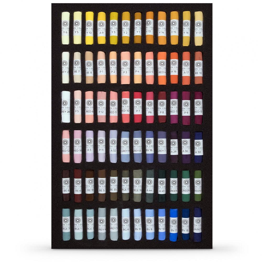 Pastels tendres unisson : Ensemble de 72 pour Portraits dans un écrin noir