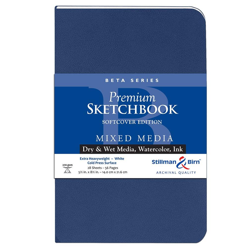 Stillman & Birn : Beta : Couverture Souple Cahier de Croquis : 270gsm : Grain Fin : 14x22cm (22x14cm) : Portrait