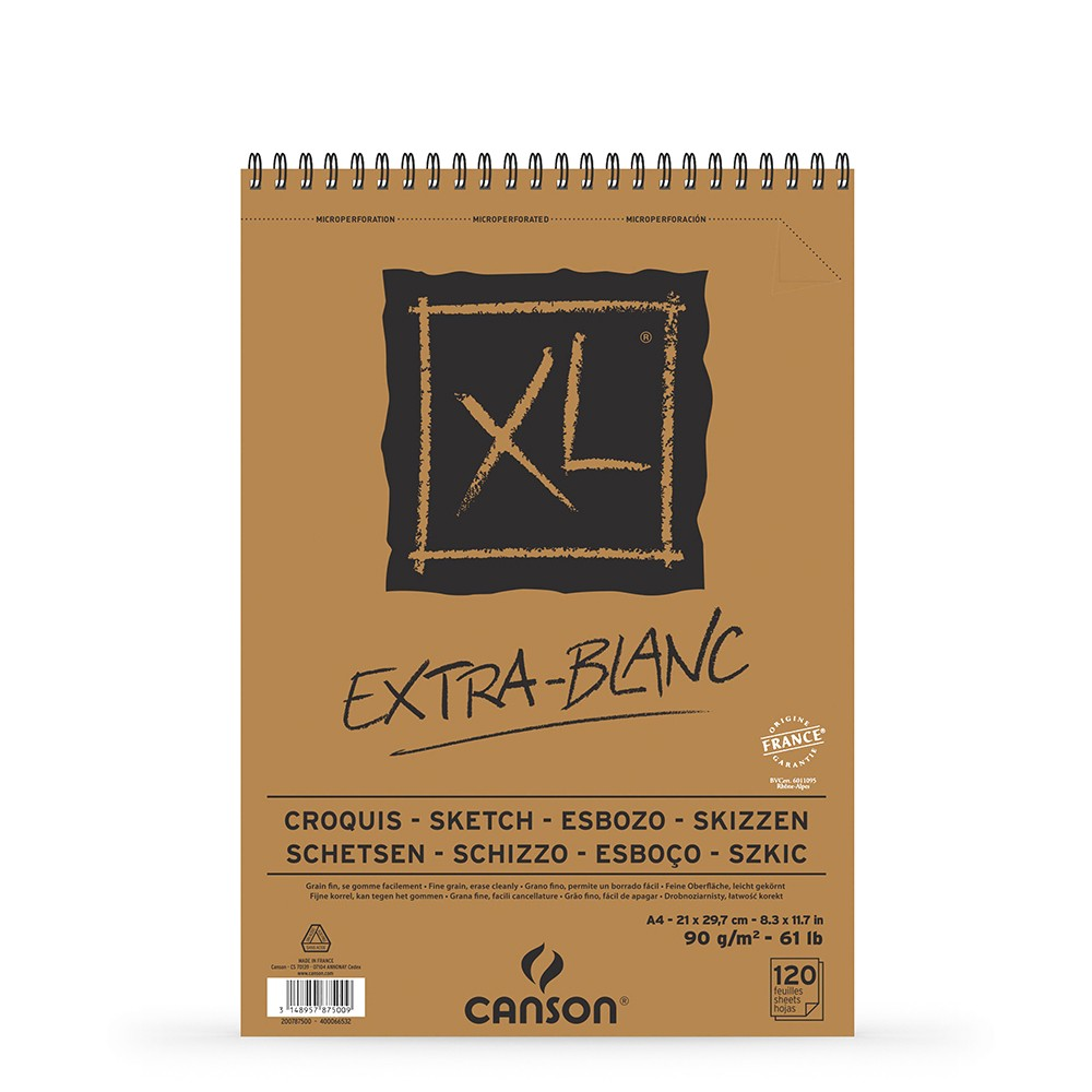 Canson : XL : Croquis : Extra White : Spiral Pad : 90gsm : 120 Sheets : A4