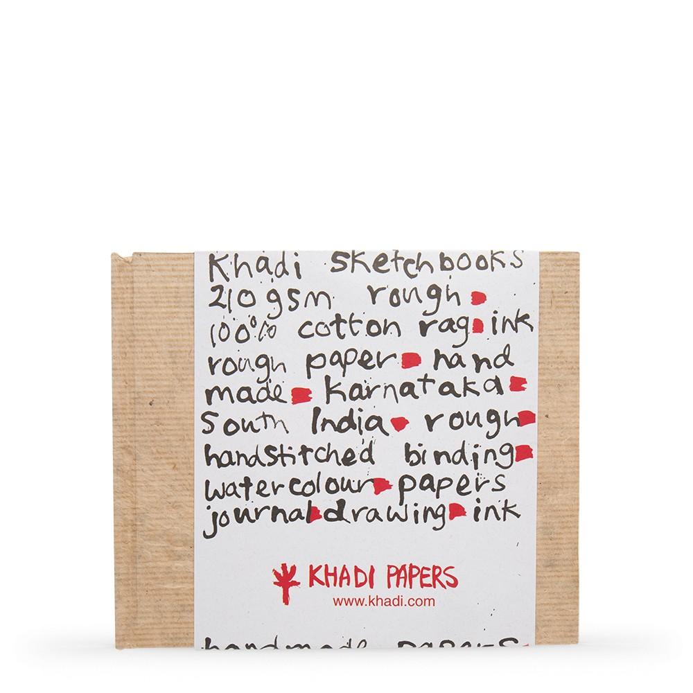 Khadi :Couverture Faite Main Rigide : Cahier de Croquis 210gsm : Grain Torchon : 21x25cm : 32 Pages