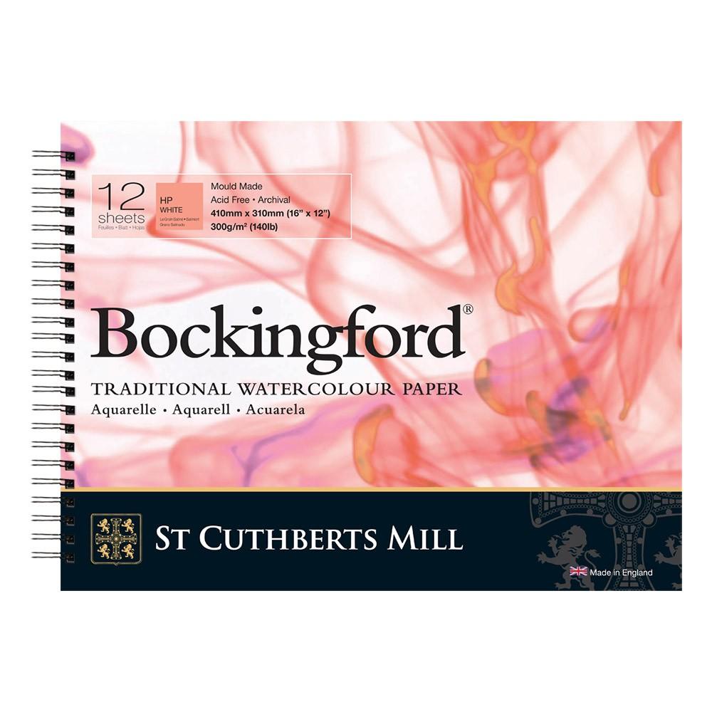 Bockingford :Bloc Papier Spiral : 30x40cm : 300gsm : 12 Feuilles : Grain Satiné