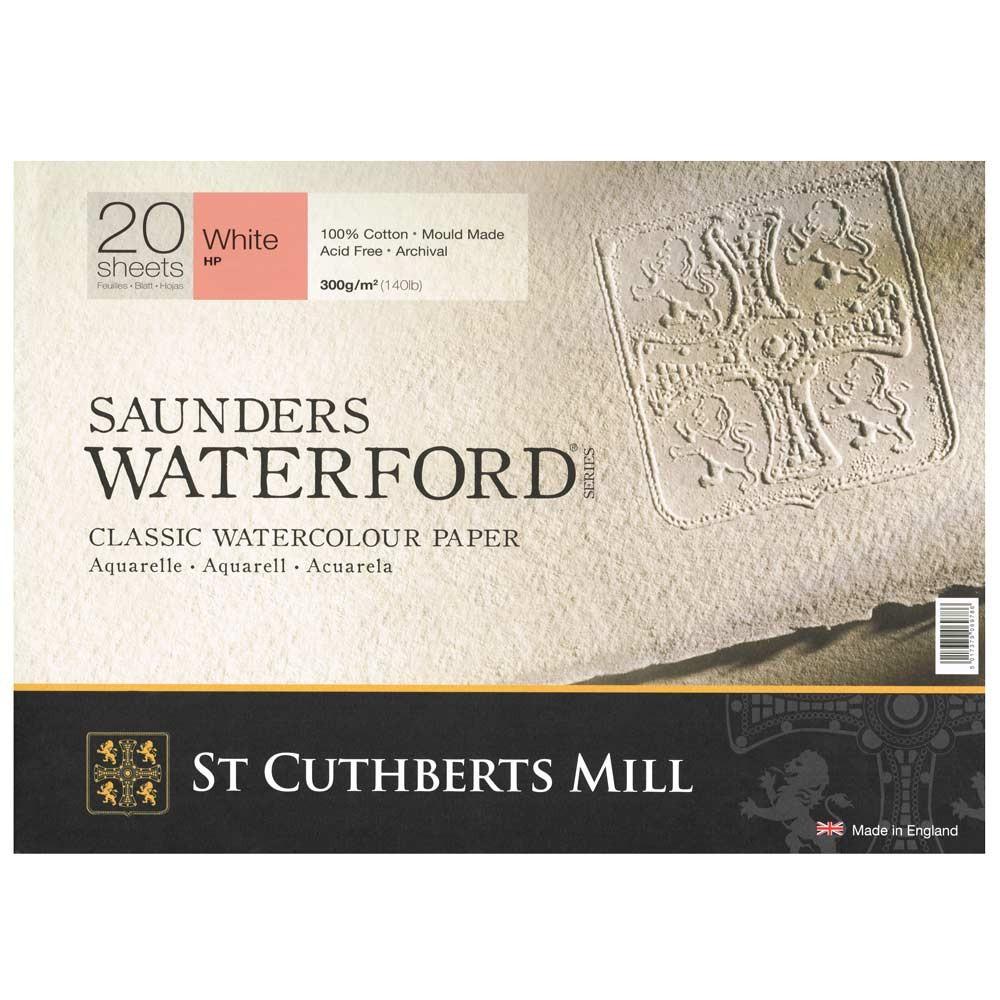Saunders Waterford : Papier Aquarelle Bloc : 300gsm : 25x35cm : 20 Feuilles : Grain Satiné