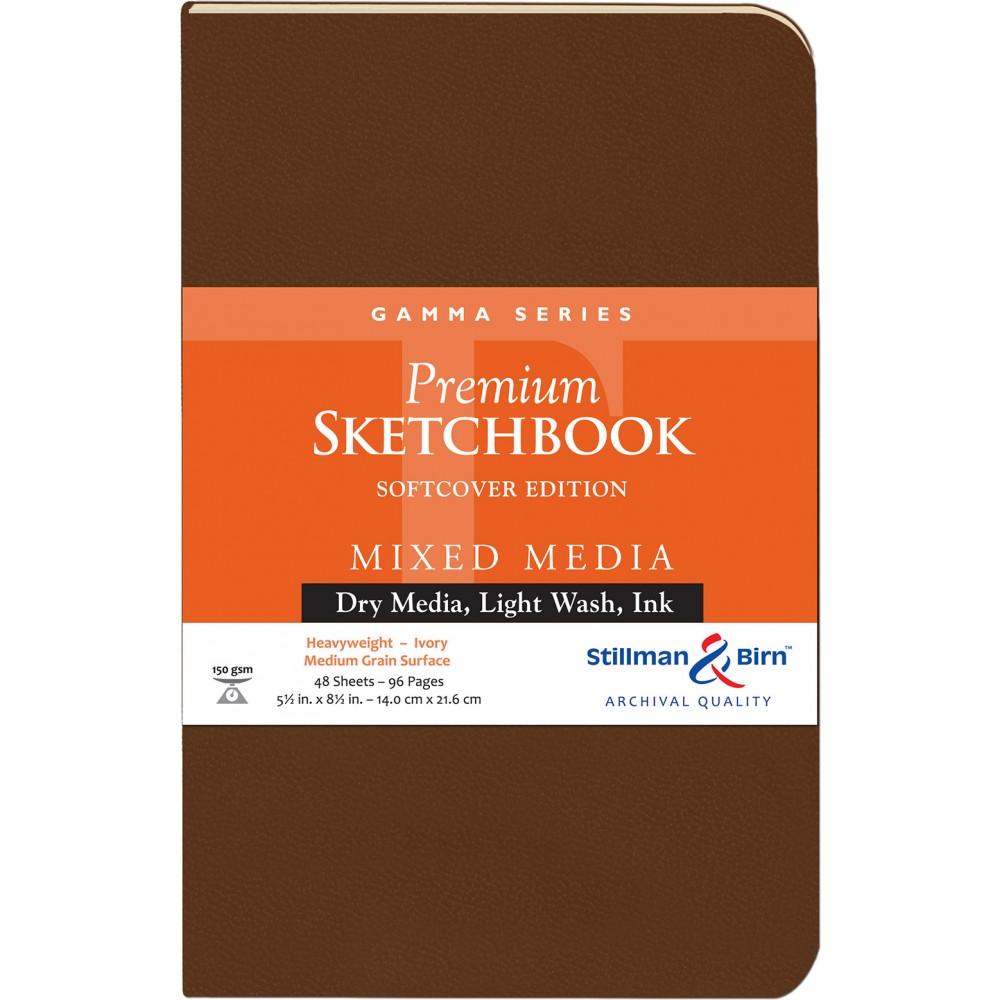 Stillman & Birn : Gamma : Couverture Souple: Cahier de Croquis : 150gsm : Grain Moyen : 14x22cm (22x14cm) : Portrait
