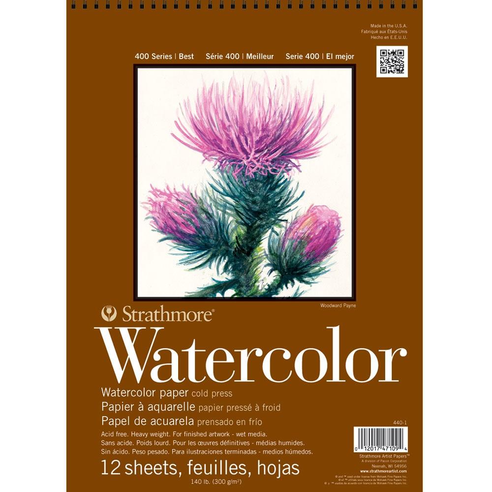 Strathmore : Série 400 : Papier Aquarelle : 300g :30x40cm : 12 Feuilles : Grain Fin