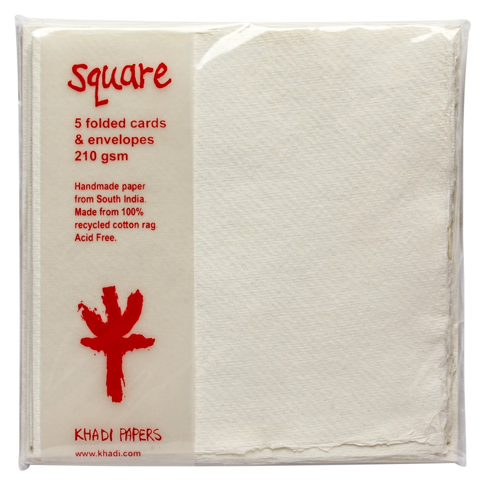 Khadi :Carte de Voeux Vierges: Blanc Aquarelle : Avec Enveloppes: 15x15cm :Lot de 5
