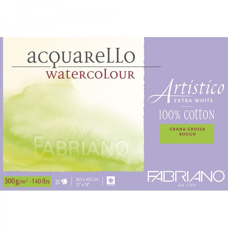 Fabriano : Artistico : Bloc : 140lb : 30x45cm : 20 Feuilles : Très Blanc : Grain Torchon