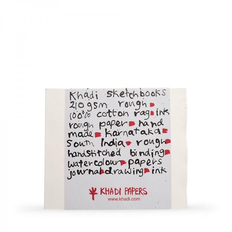 Khadi :Couverture Faite Main : Cahier de Croquis 210gsm : Grain Torchon : 21x25cm : 40 Pages