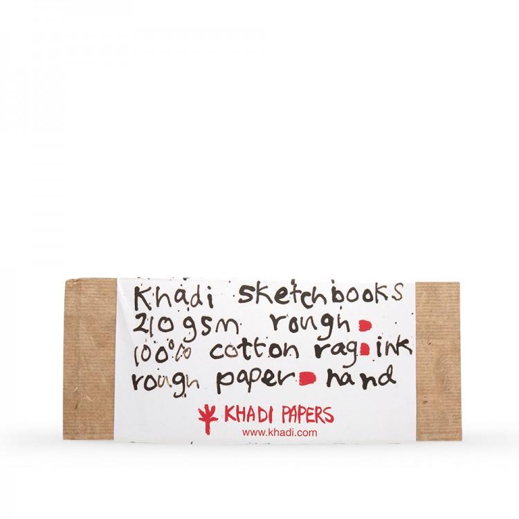Khadi :Couverture Faite Main Rigide : Cahier de Croquis 210gsm : Grain Torchon : 13x32cm : 32 Pages