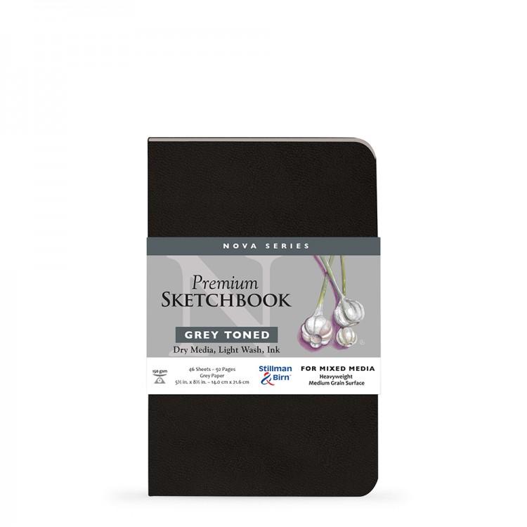 Stillman & Birn : Nova : Cahier de Croquis Couverture Souple Techniques Mixtes: 150gsm 14x22cm (14x21.6cm) : Gris