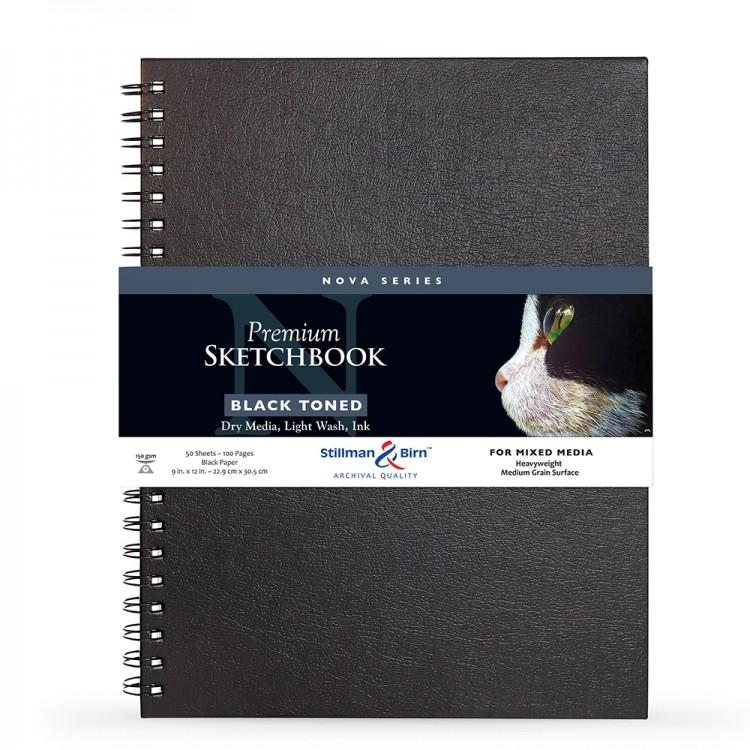 Stillman & Birn : Nova : Cahier de Croquis à Sipral Techniques Mixtes: 150gsm : 20x30cm (22.9x30.5cm) : Noir