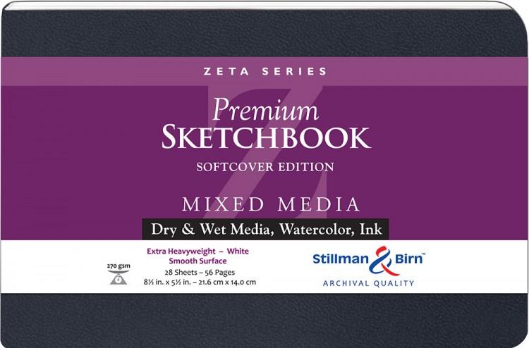 Stillman & Birn : Zeta : Cahier de Croquis Couverture Souple : 270gsm: Surface Lisse : 8.5x5.5in (14x22cm) : Paysage