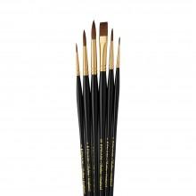 Pro Arte :Sablene : Pochette Pinceaux Lot de 6 : 0-2-4-6-8 Rond & 3/8 Plat