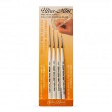 Silver Brush : Ultra Mini : Pinceau Taklon Or : Coffret Détail de 3
