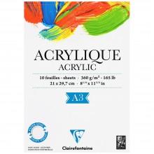Clairefontaine :Bloc Papier : Papier Acrylique : 360g 10 Feuilles : Un côté encollé: A4