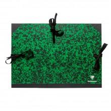 Clairefontaine :Pochette à Dessin Vert Marbré avec Ficelles : A3+ : 32x45cm