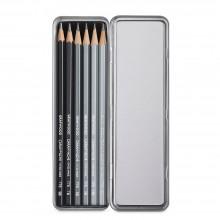 Caran d'Ache :Crayons Ligne de Graphite : Lot de  6 Boite en Métal