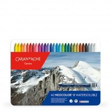 Caran d'Ache : Neocolor II : Crayon Aquarelle : 40 dans une Boite en Métal