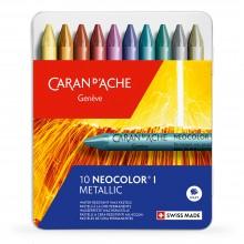 Caran d'Ache : Neocolor I : Crayons Métalliques en Cire: Metal : Boite  de 10 (non soluble à l'eau )