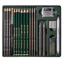 Faber Castell : Pitt Lot de Crayons Graphite : Boîte en Métal de 19