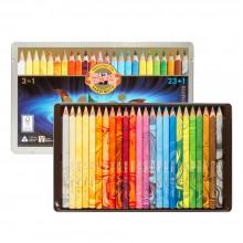 Koh-I-Noor : Jumbo : Crayon de Couleurs en Triangle 3408 : Kit Magic Lot de  24 : FSC 100%
