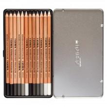 Lyra : Rembrett Lot de Crayons de Couleurs Multi-Couleurs : Tons Gris : Boite en Métal 12 pcs