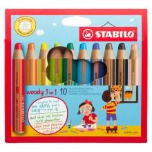 Swan Stabilo : Woody 3-in-1 : Crayon : Trousse : Lot de 10