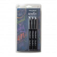 William Mitchell : Calligraphy : Italic Marker Pen : Black : Set of 3