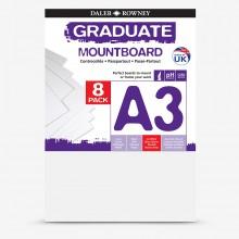 Daler Rowney : Graduate: Panneau de Montage A3: Ice White : Lot de 8